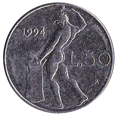 50 Italian Lire coin (Vulcan small type)