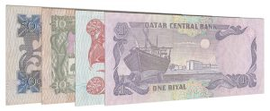 demonetized Qatari Riyal banknotes