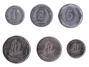 East Caribbean States dollar and cent coins