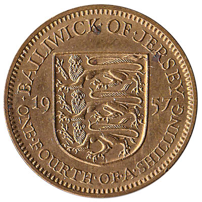 One fourth of a shilling coin Bailwick of Jersey