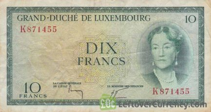10 Luxembourg Francs banknote (Grand Duchess Charlotte) obverse accepted for exchange