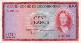 100 Luxembourg Francs banknote (Grand Duchess Charlotte)