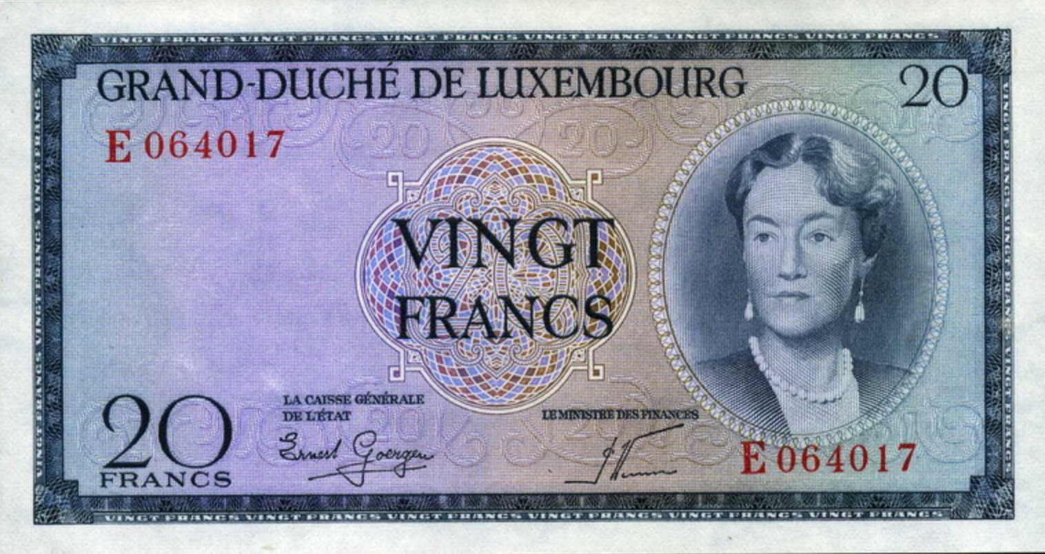 20 Luxembourg Francs banknote (Grand Duchess Charlotte)