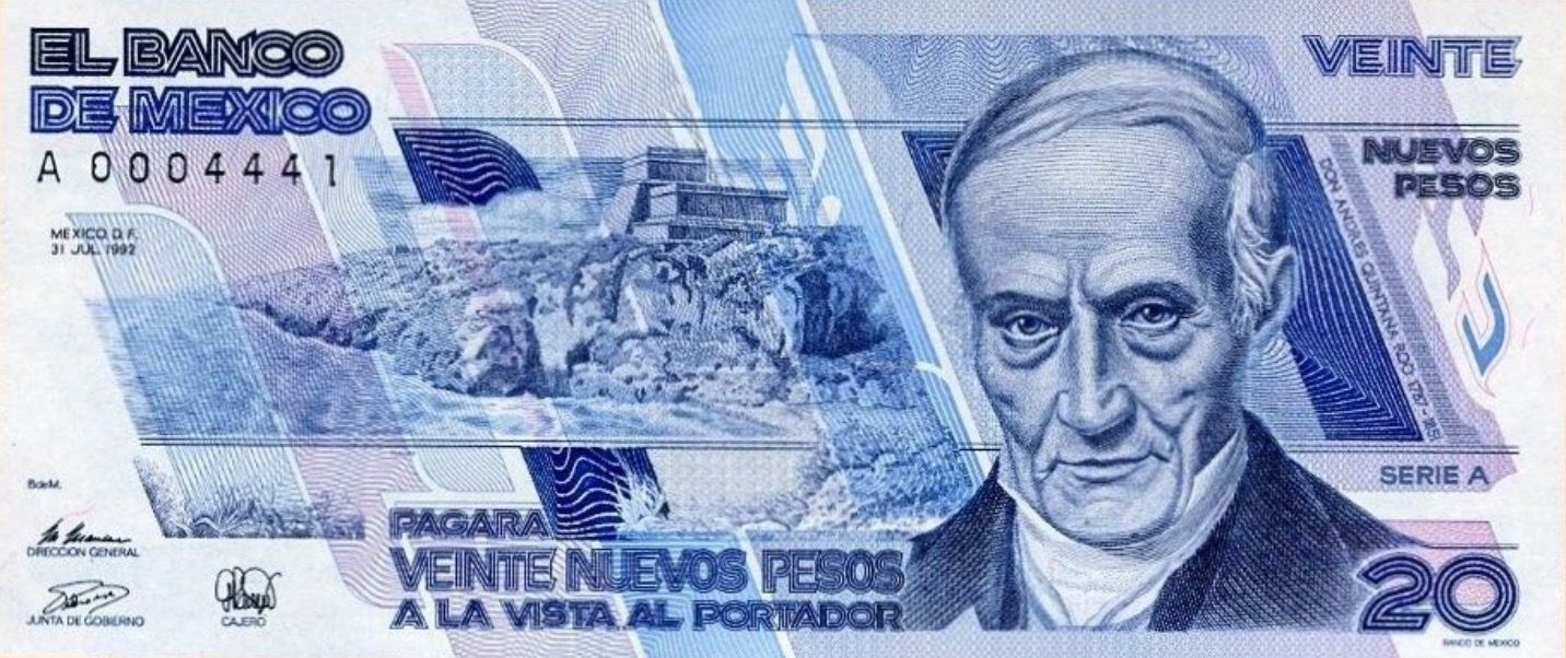 20 Nuevos Pesos banknote Mexico (Andrés Quintana Roo)