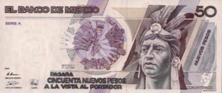 50 Nuevos Pesos banknote Mexico (Cuauhtémoc)