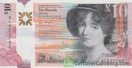Royal Bank of Scotland 10 Pounds banknote (2016 series) obverse accepted for exchange