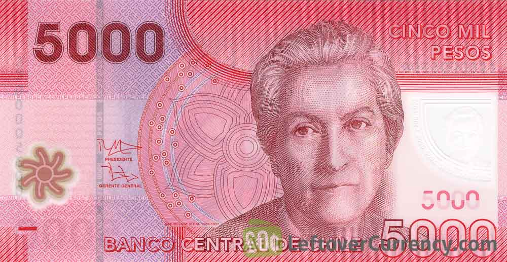 5000 Chilean Pesos banknote Gabriela Mistral - Exchange yours for cash