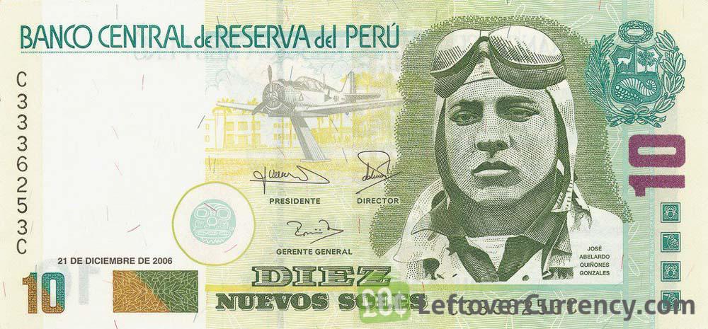 10 Peruvian Nuevos Soles Banknote 1991