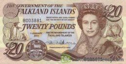 20 Falkland Islands Pounds banknote