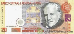 20 Peruvian Nuevos Soles banknote (Monetary Reform Issue)