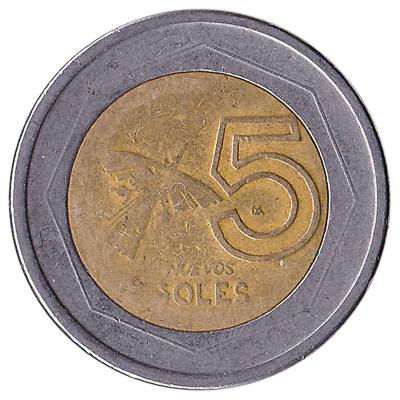 5 Peruvian Nuevos Soles coin