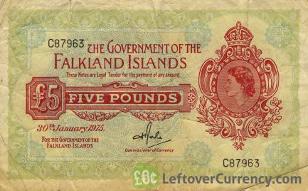 5 Pounds banknote Falkland Islands (1960-1975 issue)