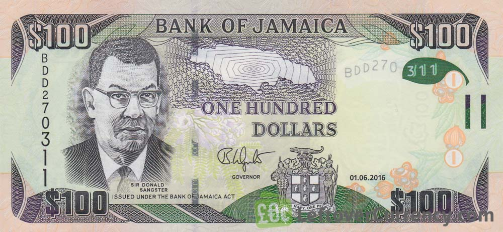 100 Jamaican Dollars Banknote Donald Sangster