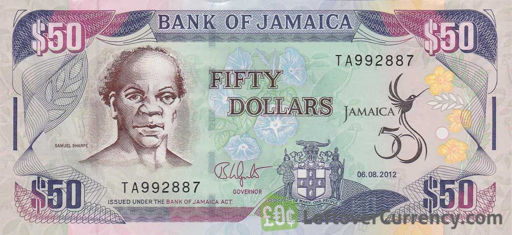 50 Jamaican Dollars Banknote Samuel Sharpe