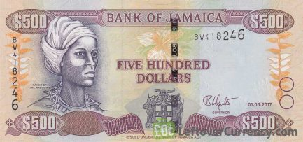 500 Jamaican Dollars banknote (Nanny of the Maroons)