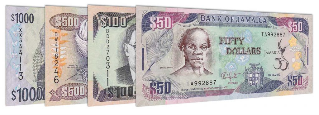 current Jamaican dollar banknotes