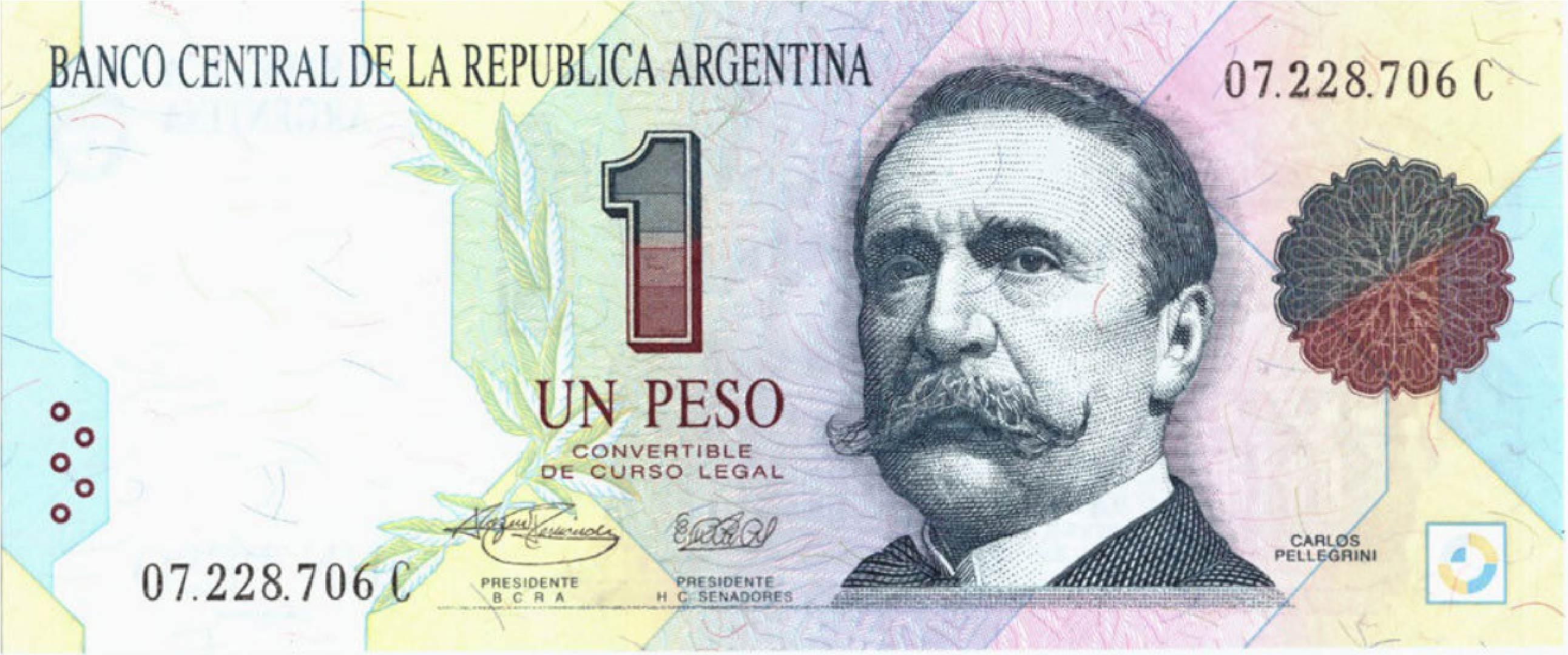 1 Argentine Peso Banknote 1st Series Carlos Pellegrini