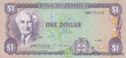 1 Jamaican Dollar banknote (Sir Alexander Bustamante)