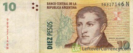10 Argentine Pesos banknote 2nd Series (Manuel Belgrano)