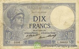 10 French Francs banknote (Minerva)