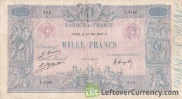 1000 French Francs banknote (Bleu et Rose)