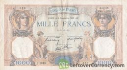 1000 French Francs banknote (Cérès et Mercure)