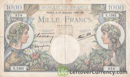 1000 French Francs banknote (Commerce et Industrie)