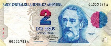 2 Argentine Pesos banknote 1st Series (Bartolome Mitre)