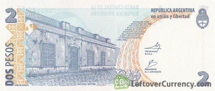 2 Argentine Pesos banknote 2nd Series (Bartolome Mitre)