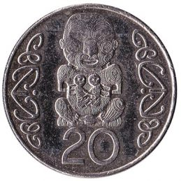20 cent coin New Zealand (large type)