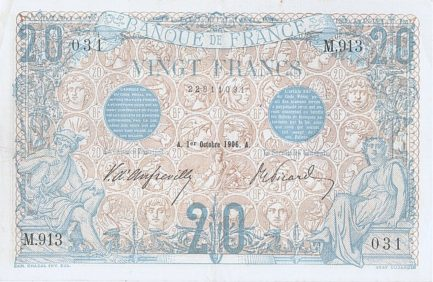 20 French Francs banknote (Bleu)