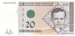 20 Konvertible Marks banknote Bosnian-Croatian (2008 version)
