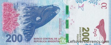 200 Argentine Pesos banknote 4th Series (Southern whale)