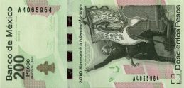 200 Mexican Pesos commemorative banknote (Mexican War of independence)