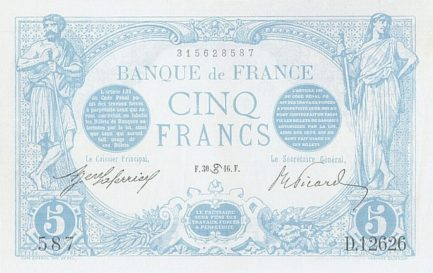 5 French Francs banknote (Bleu)