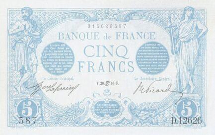 5 French Francs banknote (Bleu)