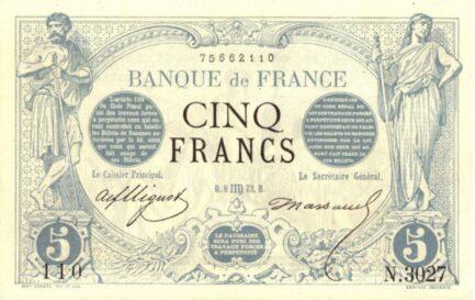 5 French Francs banknote (Noir)