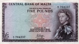 5 Maltese Pounds banknote (1st Series)