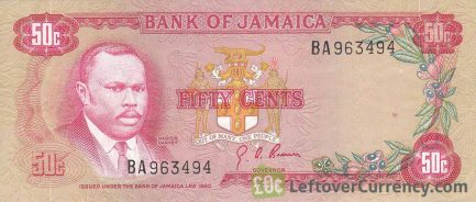 50 cents Jamaican Dollars banknote (Marcus Garvey)
