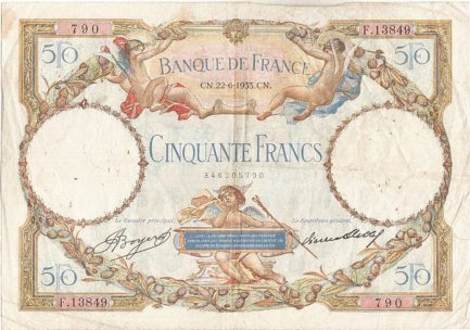 50 French Francs banknote (Luc Olivier Merson)