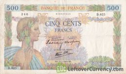 500 French Francs banknote (La Paix)