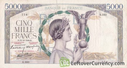 5000 French Francs banknote (Victoire)