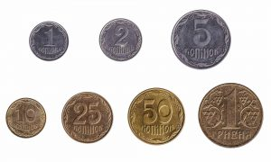 Ukrainian Hryvnia and Kopiyka coins