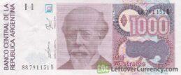 1000 Argentine Australes banknote
