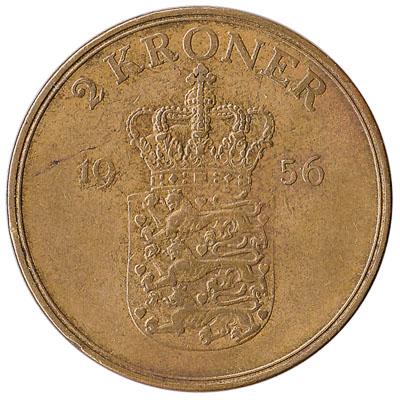 2 Danish Kroner coin Frederik IX