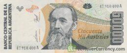 50000 Argentine Australes banknote