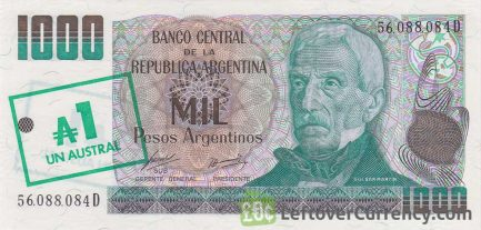 1 Austral overprint on 1000 Pesos Argentinos banknote