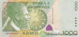 1000 Albanian Lek banknote (Pjetër Bogdani)