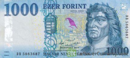 1000 Hungarian Forints banknote (King Matyas 2017)