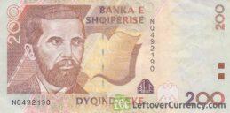 200 Albanian Lek banknote (Naim Frashëri)